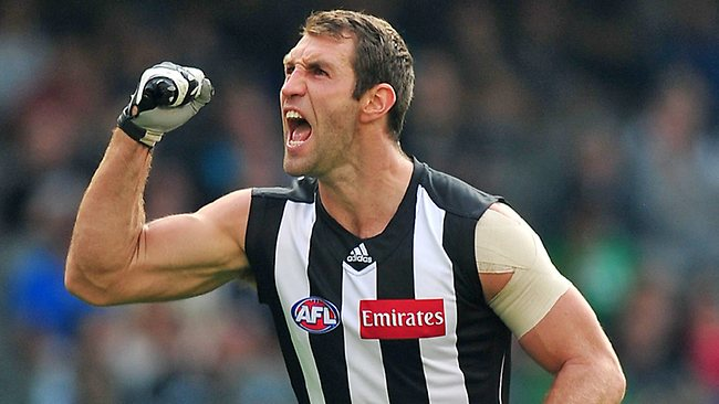 Travis Cloke celebrates his goal in the third quarter. Picture: George Salpigtidis