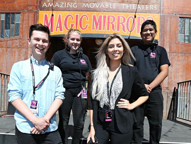 QUT students Josh Cook, Madi Hirini, Natasha Walford and Aidan Ayunon gained a lot from their internships with Brisbane Festival. Picture: Annette Dew