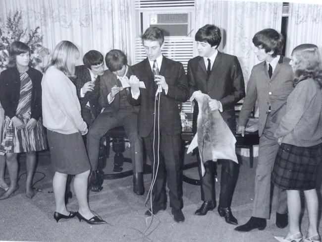 Henrica Noll, right, meets The Beatles in Adelaide.