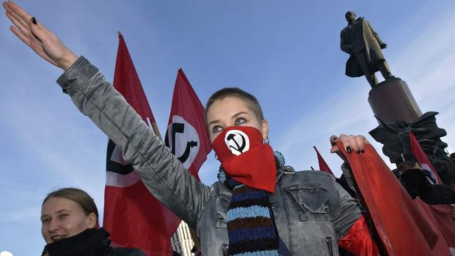 A member of the leftist National Bolshevik party in 2004. Picture: EPA/STRINGER