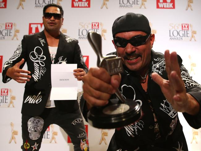 Pauly Fenech celebrates winning Outstanding Light Entertainment Program at the 2014 Logie Awards.