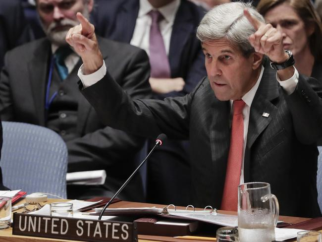 John Kerry pointed fingers in the direction of Russia at an emergency meeting of leaders at the UN. Picture: Julie Jacobson/AP