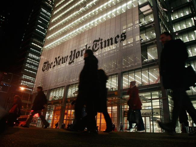 NEW YORK — FEBRUARY 19: The New York Times headquarters is seen February 19, 2009 in New York City. The New York Times Co. suspended quarterly dividend payments to shareholders today in an effort to reduce debt. (Photo by Mario Tama/Getty Images)