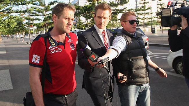 Melbourne football manager Josh Mahoney leaves AFL House after speaking to ASADA officials and league investigators. Picture: Hamish Blair