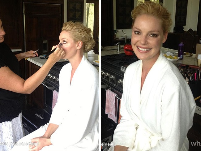 "Behind The Scenes Emmy Awards 2014... Actress Katherine Heigl posts, ""Getting ready earlier! We picked a glamorous location ;) #Emmys"" Picture: Getty"
