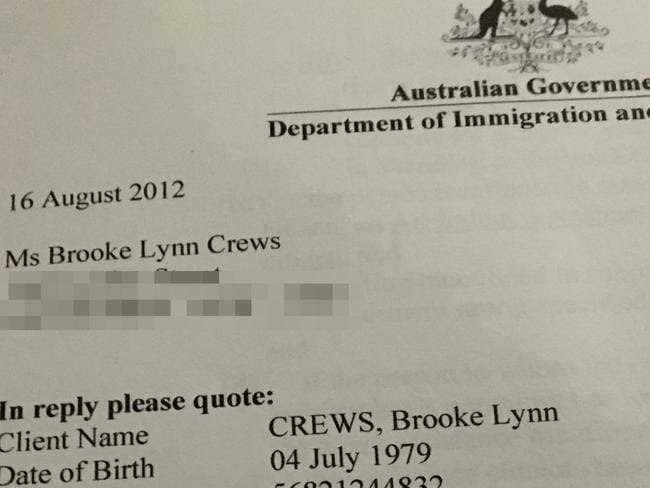 Brooke Lynn Crews immigration document