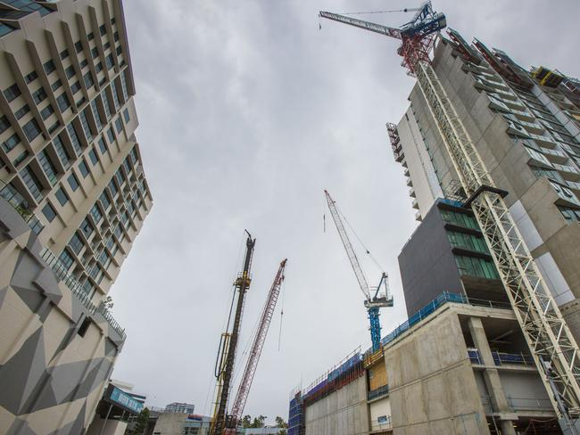 If apartments are nearing completion in a market downturn, it can be cheaper to finish and sell quickly rather than abandon the project. Picture: Glenn Hunt/The Australian