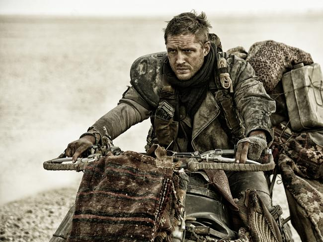 "Tom Hardy, as Max Rockatansky, in a scene from, ""Mad Max:Fury Road."