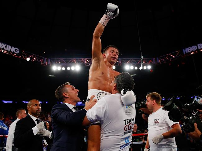 Gennady Golovkin celebrates after his TKO victory.