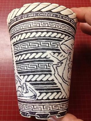 A modest styrofoam cup becomes the canvas for a poignant piece of modern art. Picture: Reddit