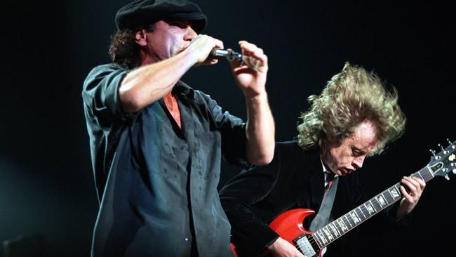 Brian Johnson and Angus Young perform in Australia more recently.