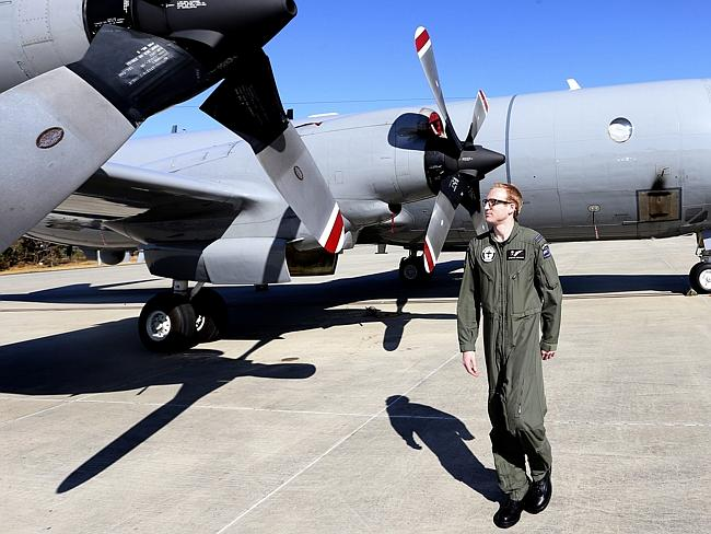 Staying focused ... Royal New Zealand Air Force Flight Lt. Stephen Graham walks around th