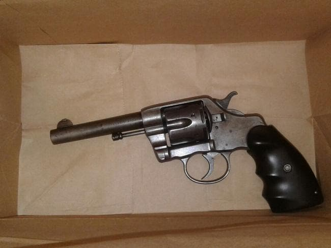 A revolver that was seized at the storage unit.