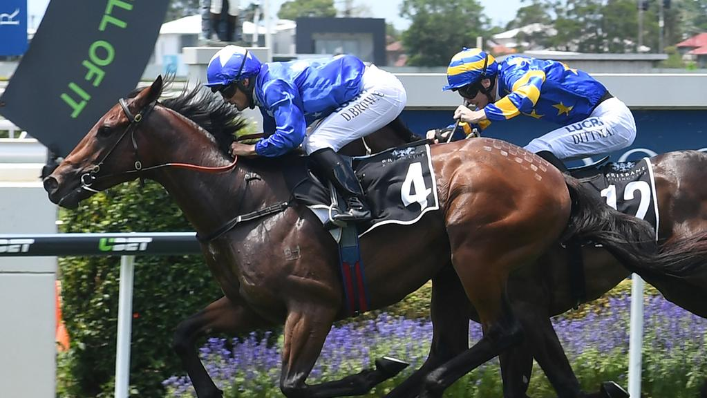 Ours To Keep ran slick time to win the Phelan Ready Stakes at Doomben on Saturday. Picture: Grant Peters (Trackside Photography)