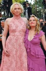 Gwendoline Christie and Elisabeth Moss pose as they arrive on May 23, 2017 for the screening of the tv series 'Top Of The Lake: China Girl' at the 70th edition of the Cannes Film Festival in Cannes, southern France. Picture: AFP