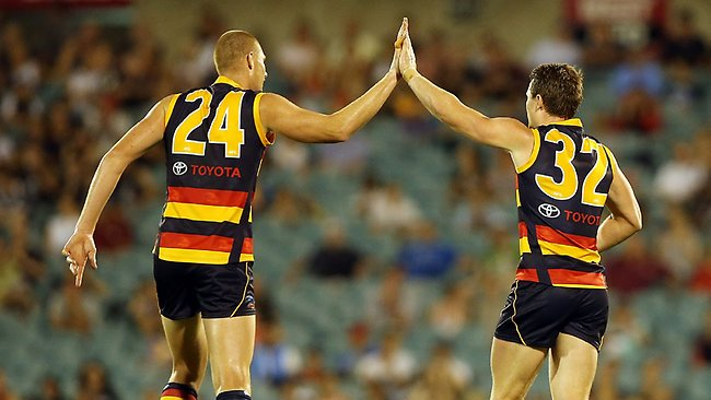 ADELAIDE, AUSTRALIA - MARCH 08: Sam Jacobs and Patrick Dangerfield of the Crows celebrate a goal during the round three NAB Cup AFL match between the Adelaide Crows and the Carlton Blues at AAMI Stadium on March 8, 2013 in Adelaide, Australia. (Photo by Morne de Klerk/Getty Images)