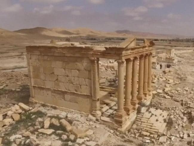 This picture taken by a Russian drone and released by the All-Russia State Television and Radio Broadcasting Company (VGRTK) shows a temple of the ancient city of Palmyra.