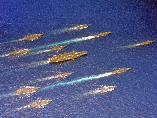 Strike package ... the array of ships deployed to form the battlegroup supporting the aircraft carrier USS Carl Vinson. Source: USN