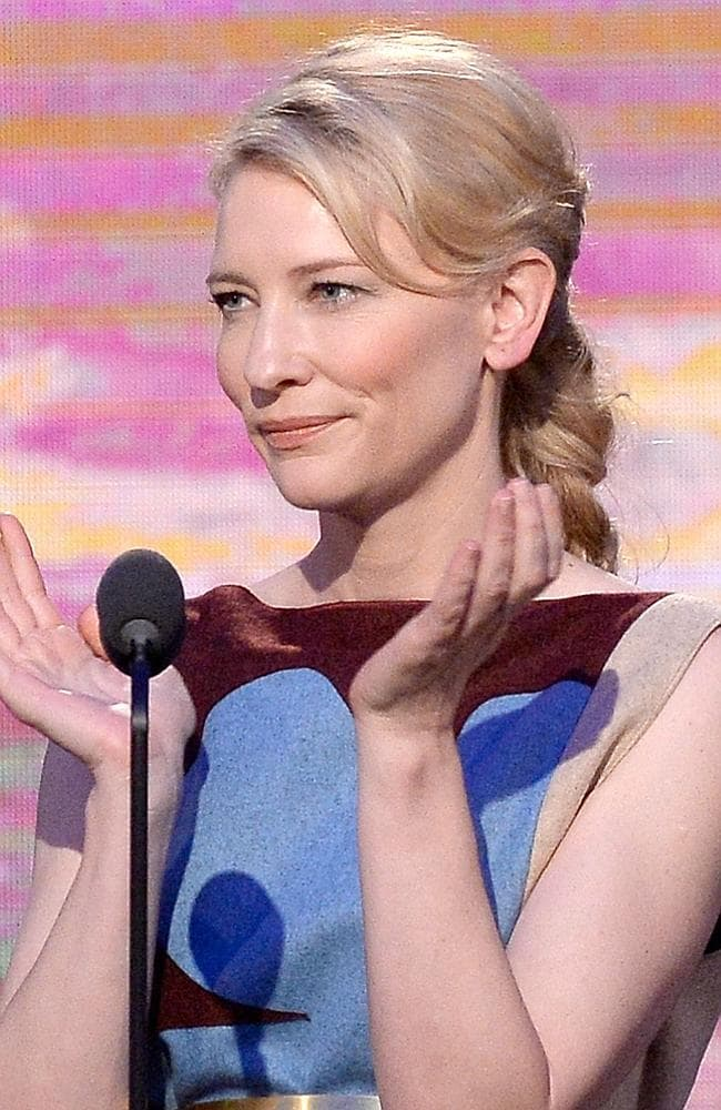 Actress Cate Blanchett speaks onstage during the 2014 Film Independent Spirit Awards at Santa Monica Beach on March 1, 2014 in Santa Monica, California. Kevork Djansezian/Getty Images/AFP== FOR NEWSPAPERS, INTERNET, TELCOS & TELEVISION USE ONLY ==