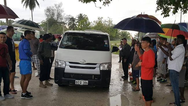 Asylum seekers leave the Manus Island detention centre on Sunday, September 24, 2017. Picture: AAP/Supplied by Refugee Action Coalition.