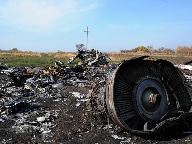 The wreckage of MH17 near the village of Rassipnoe. Picture: AFP
