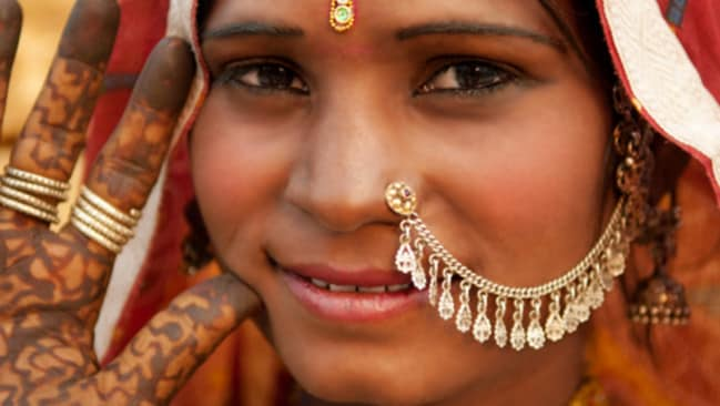 Traditional... nose chains have been used in Indian women's fashion for centuries.
