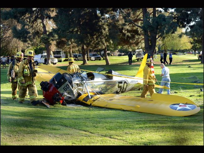 Harrison Ford's plane post crash. Picture: Splash News Australia
