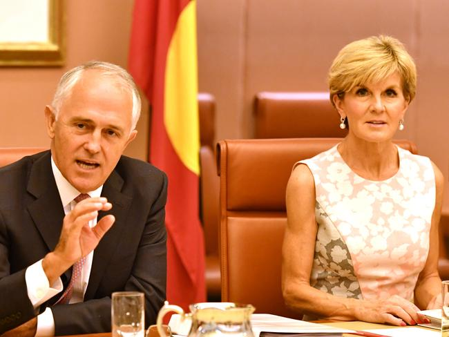 Prime Minister Malcolm Turnbull and Minister for Foreign Affairs Julie Bishop are sticking their guns about the proposed swap of detainees. Picture: AAP/Mick Tsikas