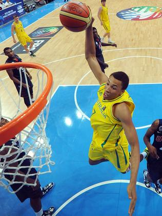 Dante goes for a basket while playing for Australia in the FIBA U19 championships last year.