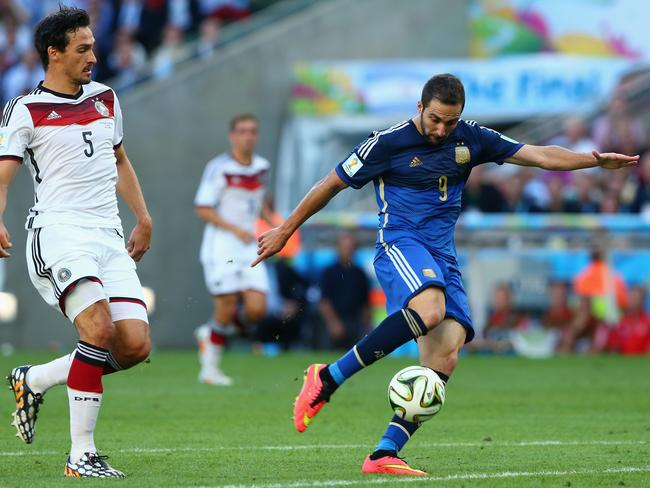 Gonzalo Higuain of Argentina shoots wide, wasting a golden opportunity in the first half of the 2014 World Cup final.