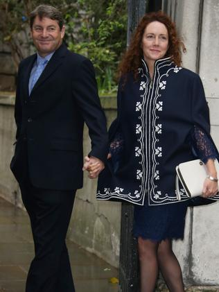 Charlie Brooks, left, and Rebekah Brooks arrive. Picture: Joel Ryan/Invision/AP