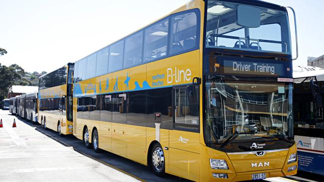 One of the new B-line buses that will serve the northern beaches. Picture: Adam Yip