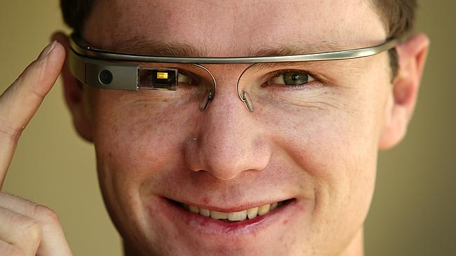 Patrick Dangerfield wearing Google Glasses from Telstra. Picture: Andrew Tauber