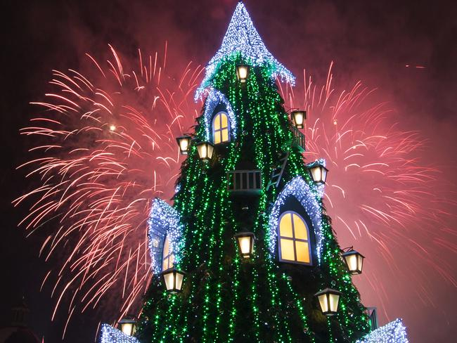 Fireworks light the sky ... above the Cathedral Square in Vilnius, Lithuania. Picture: AP