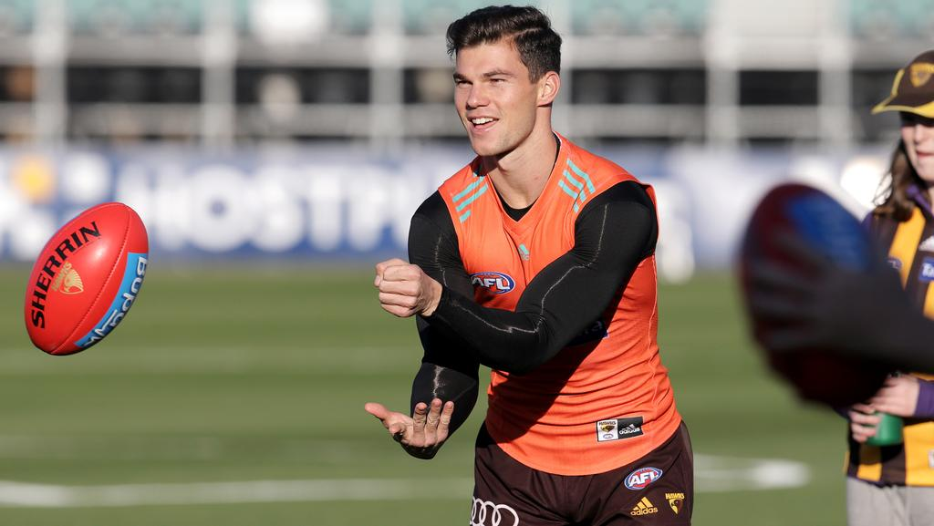 Jaeger O'Meara at Hawthorn training. Picture: LUKE BOWDEN