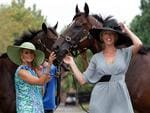 STC ambassadors Charlotte Dawson (L) and model Annalise Braakensiek with racehorses Rangi Rangdoo and Danleigh in promotional photo for enviromental stakes day of racing at Rosehill Gardens Racecourse in Sydney. Picture: Stephen Cooper