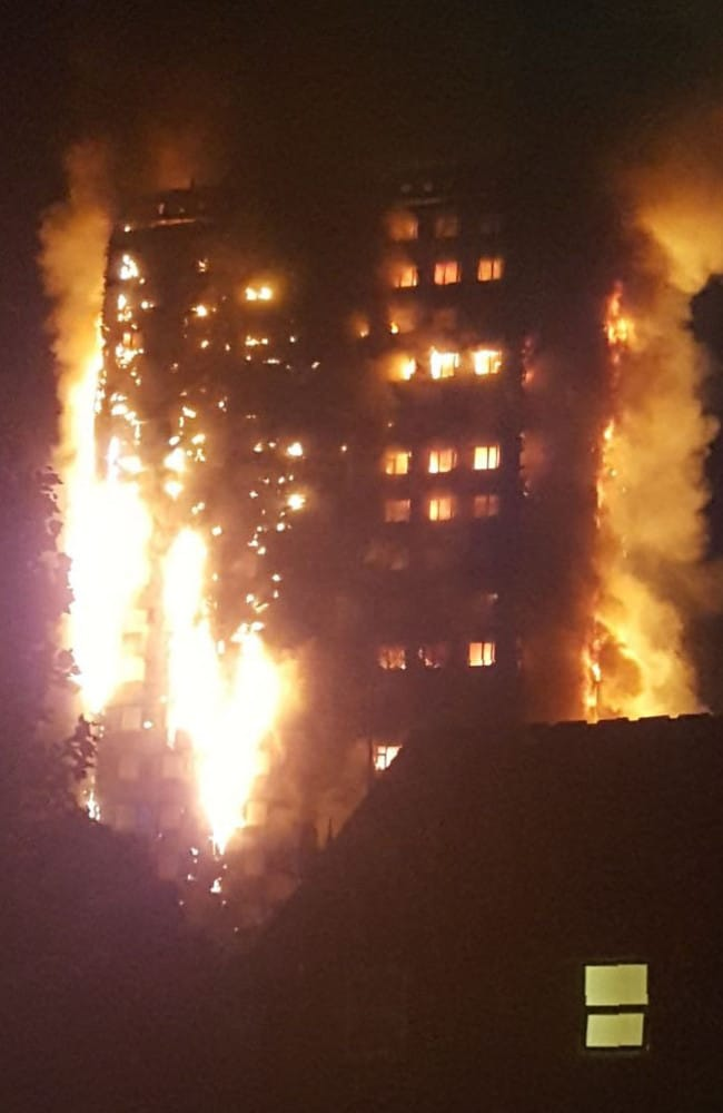 Flames engulfing the 24-storey block of flats in west London.