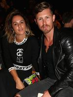 Pip Edwards and make up artist Max May attend the Tome show at Mercedes-Benz Fashion Week Australia 2015 at Carriageworks on April 13, 2015 in Sydney, Australia. Picture: Getty