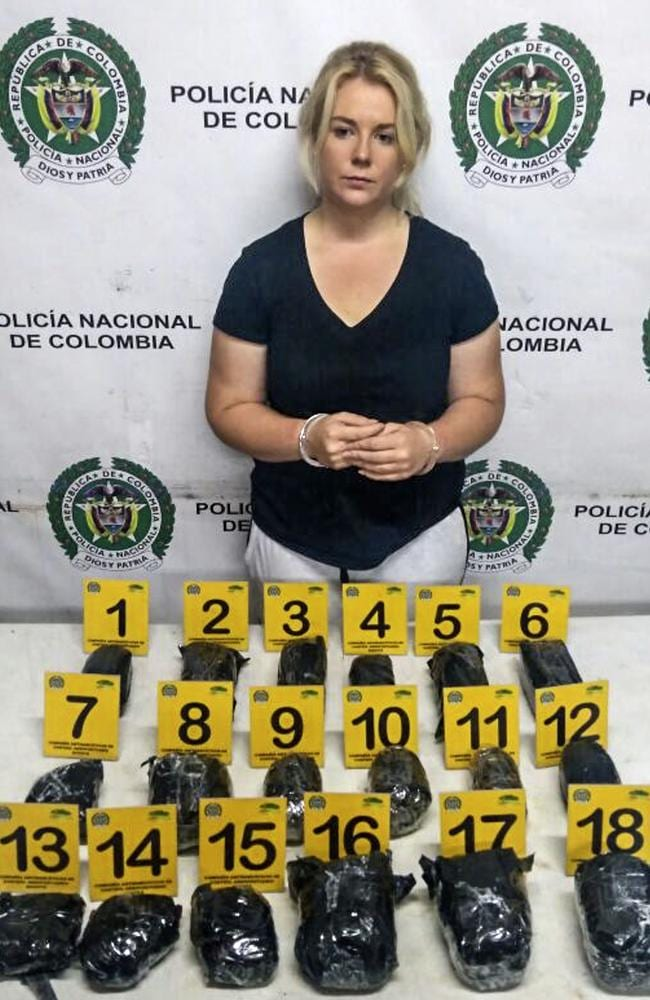 Cassie Sainsbury after being arrested on her way back to Adelaide with cocaine in her suitcase, at the El Dorado International Airport in Bogota.