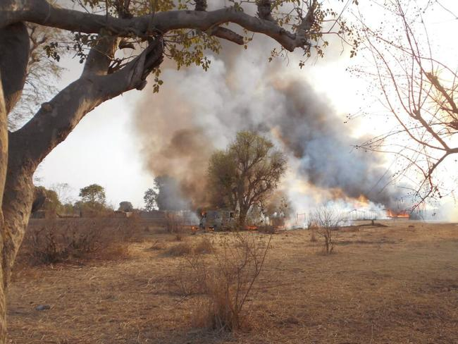 Stronghold ... A Boko Haram camp burns after it was allegedly destroyed by Nigerian military personnel during an attack in the Sambisa Forest. Picture: AP