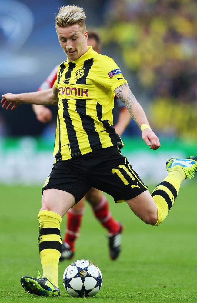Marco Reus of Borussia Dortmund in action against Bayern Munich.