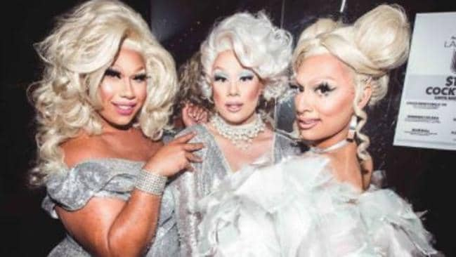 From left to right, drag queens Coco Jumbo, Vybe and Ivy Leaguee came to the rescue. Picture: Facebook
