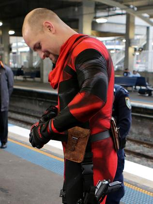 Reuben Rose as 'Deadpool' at Blacktown Station. Picture: Stephen Cooper