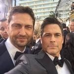 "Rob Lowe and Gerard Butler ... ""Buddies on the carpet #GoldenGlobes"" Picture: Instagram"