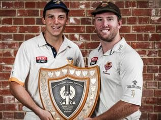 SACA Premier Cricket Grand Final captains Kelvin Smith (West Torrens) and Jake Brown (Kensington) with the Cup that is up for grabs this weekend.