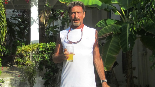 The virus guru John McAfee relaxing at his compound in Belize, before going on the run. Picture: Gizmodo