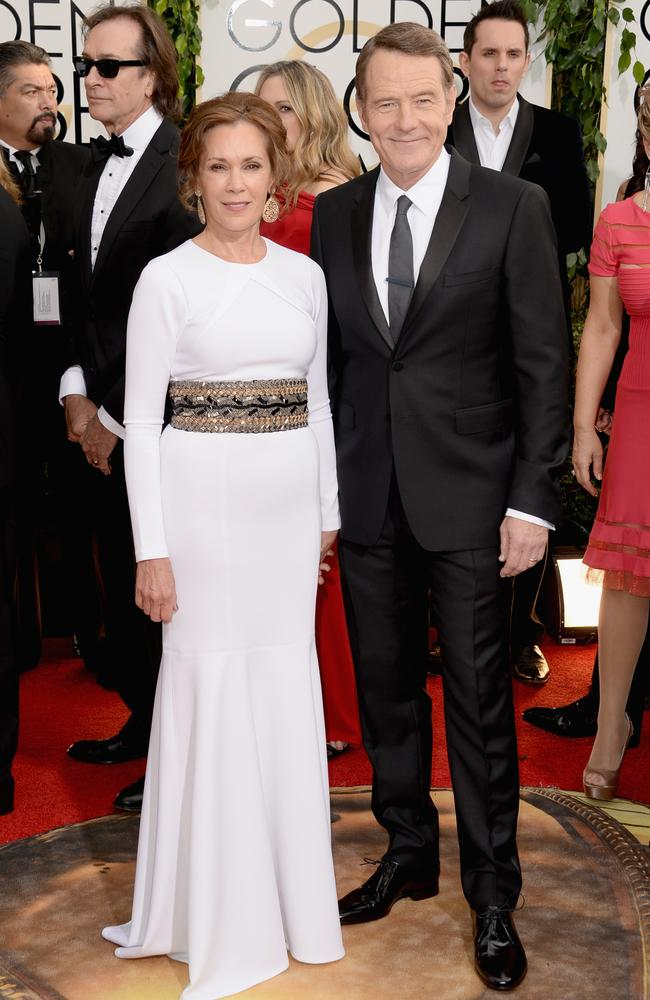 Cranston poses with wife Robin Dearden on the red carpet for the Golden Globes in January. Picture: Getty
