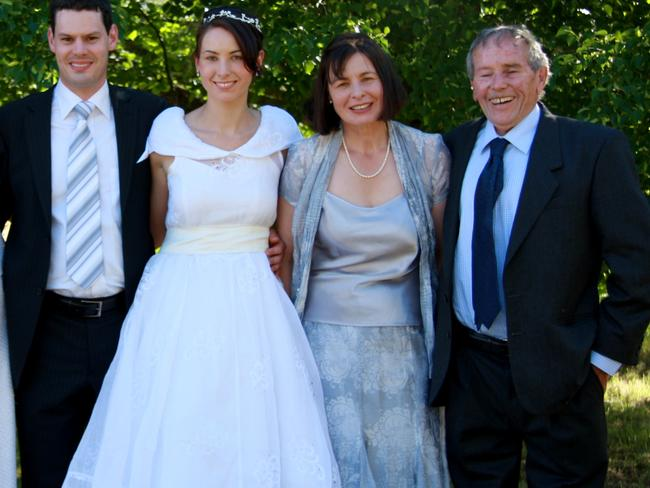 Susan Neill-Fraser (second right) and Bob Chappell (right) at her daughter Sarah's wedding in 2007.