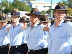 Australian Air Force Cadets prepare to march at the Caloundra Anzac Day Parade. Picture: Lachie Millard