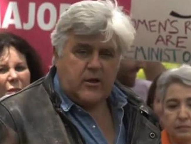 Speaking out ... Jay Leno spoke at a rally outside a Los Angeles hotel owned by the Sultan of Brunei, who has just introduced stoning as a legal punishment.